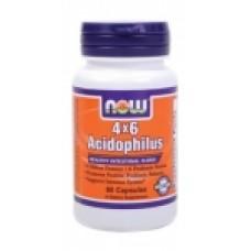 Acidophilus 4X6 - 60 капсули Now Пробиотик