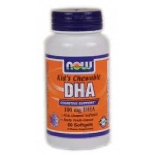 DHA 100 мг Kid's Chewable - 60 дражета Now Мастни киселини