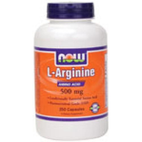 L-Arginine 500 мг - 250 капсули Now - Подобрява азотния баланс