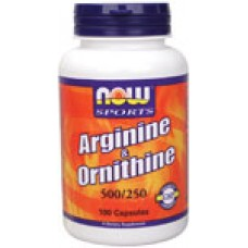 Arginine /Ornithine 500/ 250 мг Now - Стимулира растежния хормон