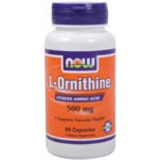 L-Ornithine 500 мг - 60 капсули Now Аминокиселина
