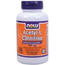 Acetyl-L-Carnitine 500 мг - 50 капсули Now Намаляване на теглото
