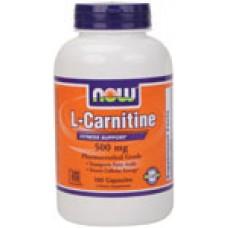 L-Carnitine 500 мг - 180 капсули Now Намаляване на мазнините