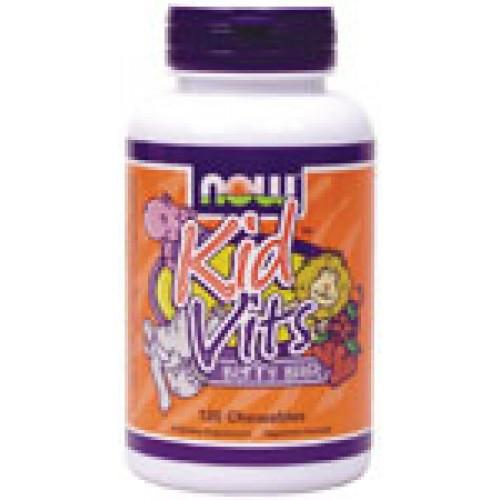Kid Vitamins с вкус на боровинка - 120 таблетки Now Витамини