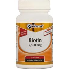Biotin 7500 mcg 60 Tablets VITACOST