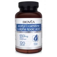 ACETYL L-CARNITINE & ALPHA LIPOIC ACID 650mg 120 Capsules - антиоксидант, здраво сърце